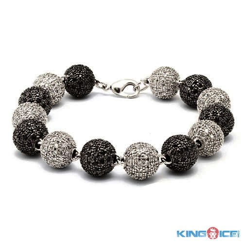 King Ice Men's Silver and Black Iced Out Premium Disco Ball Bracelet