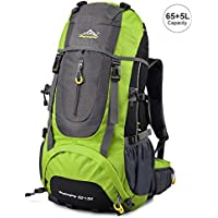 Vbiger Hiking 65+5L Water Resistant Daypack for Camping (Multiple Colors)