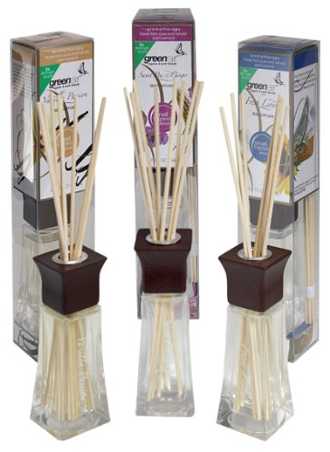 Greenair All Natural Reed Diffuser Set Of 3, Fresh Linen, Vanilla And Sweet Pea, 6.6-Ounce front-934211