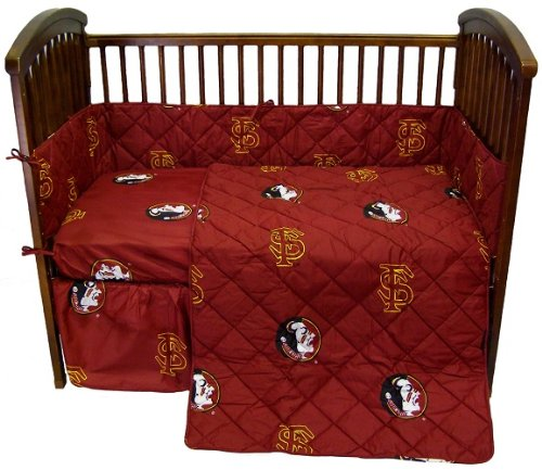 Florida State Seminoles 5 Piece Crib Set - Entire Set Includes: (1) Reversible Comforter, (1) Bed Skirt , (2) Fitted Sheets And (1) Bumper Pad - Decorate Your Nursery And Save Big By Bundling!