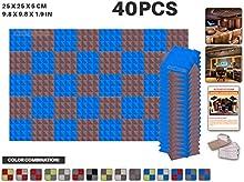Ace Punch 40 Piezas de 2 Colores Pirámide de la Espuma Acústica Panel de Bricolaje Estudio del Diseño Acústico Revestimientos Aislantes de Sonido con Libre Montaje Tabs 25 x 25 x 5 cm AP1040