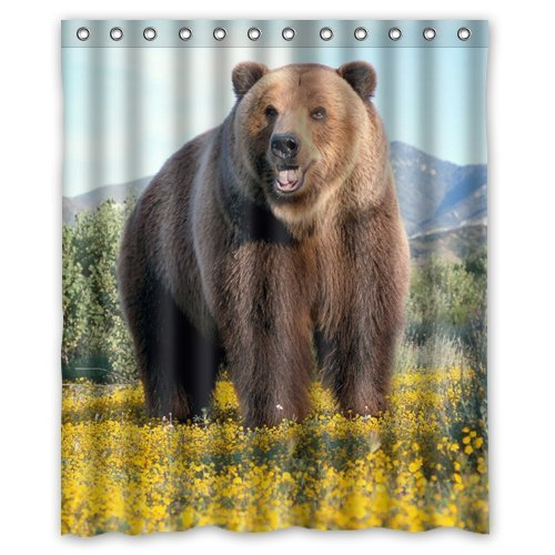 Custom Grizzly Bear Animal Waterproof Polyester Fabric Shower Curtains for Bathroom 60