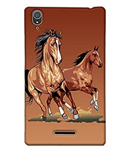 Fuson Horses Back Case Cover for SONY XPERIA T3 - D3769