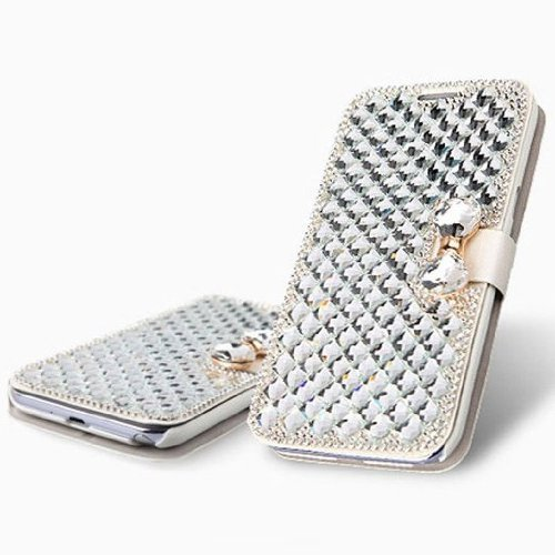 Vandot Accessory Sets 1X 3D Clear Crystal Transparent Rhinestone Leather For Apple Iphone 6 Plus 5.5 Inch Diamond Leather Rhinestone Bling Flip Case Glitter Book Wallet Case Cover Id Card Case Skin Shell Cell Phone Case - White Leatherette With White Diam front-591798