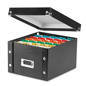 Snap-N-Store Collapsible Index Card File Box, Holds 1100 Cards of 5 x 8 Inches, Black (SNS01647)