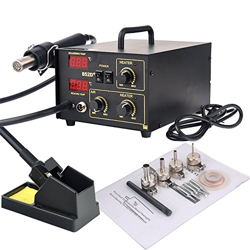 Read About Wakrays 2in1 852D + SMD Soldering Iron Rework Station Hot Air Gun + Tip + 4 Nozzles Heat ...