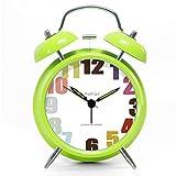 ツインベル常夜燈 目覚まし時計 バックライト付き 金属製時計 大音量 アナログ 連続秒針 音がしない 4インチ カッパー 靑春版で グリーン