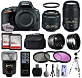 Nikon D5500 Touch Screen Digital SLR w 18-55mm VR II Kit (1546) + 55-300mm VR Lens + 96GB Memory + Padded Carrying Case + 2.2x Telephoto + 0.43x Wide Angle Lens + i-TTL Flash + 3 Filters + Tripod