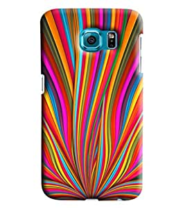 Blue Throat Rainbow Strips Printed Designer Back Cover/Case For Samsung Galaxy S6 Edge