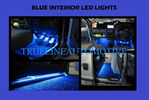 "2005-2012 Ford F150 F-150 F 150 (2) 12"" Blue Foot Well Under Dash Floor Light Interior Strips 1210 15Smd 2006 2007 2008 2009 2010 2011 05 06 07 08 09 10 11 12"