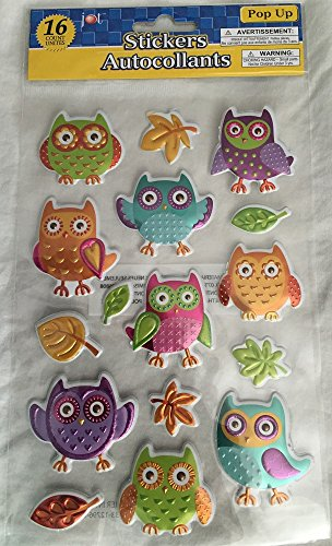 Owls Puffy Foil Pop-Up Stickers (16) - 1