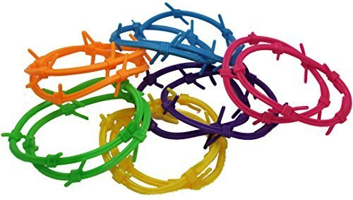 "Barbwire Bracelets. Assorted Colors (12 Pack) 6"". Rubber."