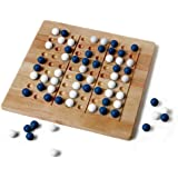 Tic-Tac-Ku Solid Wood Game (Blue/White) by Mad Cave Bird Games