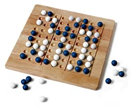 Tic-Tac-Ku Solid Wood Game Blue/White