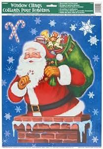 fensterbild weihnachtsmann fensterdekoration amazonde