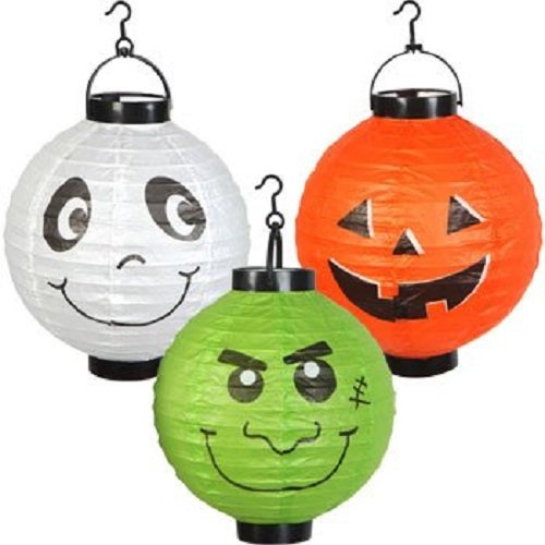 Six (6) Large Halloween Paper Lanterns Ghost Ghoul Pumpkin