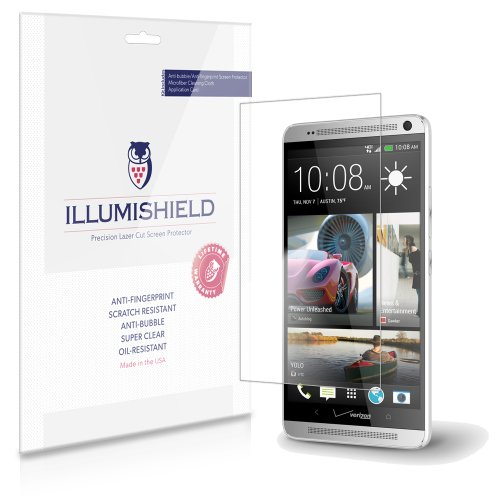 Illumishield - Htc One Max Screen Protector Japanese Ultra Clear Hd Film With Anti-Bubble And Anti-Fingerprint - High Quality (Invisible) Lcd Shield - Lifetime Replacement Warranty - [3-Pack] Oem / Retail Packaging