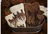 HiEnd Accents 3-Horse Embroidered Towel Set, Mocha