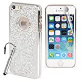 Madcase - Apple iPhone 5s / iPhone 5 - Silver - Glitter Shiny Chrome finish hard case bling cover including Screen Protector & Stylus Pen