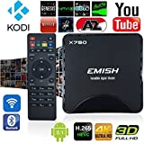 EMISH X750 TV Box 4K UHD Quad Core 64 Bits, Flash 8GB Android 5.1 Amlogic S905 Smart Box, Game Player with KODI Fully Loaded, Wifi Bluetooth Functions, Internet Streaming Media Player, Black