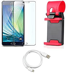 NIROSHA Tempered Glass Screen Guard Cover Case USB Cable Mobile Holder for Samsung Galaxy ON7 - Combo