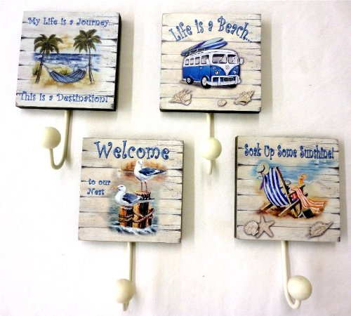 """Set Of 4 Towel Hooks - Beach Theme - Overall Hook Is 7.75"""" X 4.75"""" - 4.75"""" Square Not Including The Hook front-349932"""