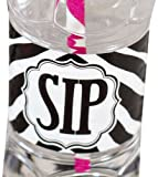 Bella Cupcake Couture 12-Pack Labels Beverage Bottle Wraps, Zebra Black and White