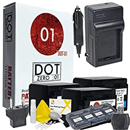 3x DOT-01 Brand Canon HF R70 Batteries and Charger for Canon HF R70 Camera and Canon HFR70 Accessory Bundle for Canon BP727 BP-727