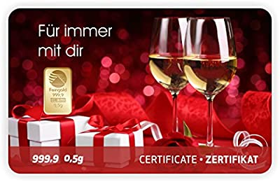 Goldbarren Geschenkkarte 0,5 g 0,5g Gramm Feingold 999.9 Nadir Gold Valentinstag - 4