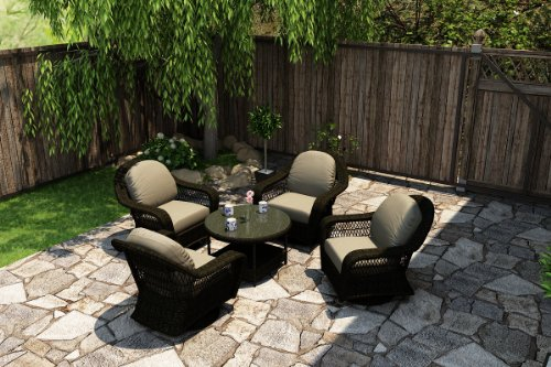 Forever Patio 5 Piece Catalina Outdoor Patio Chat Set, Sable Wicker With Beige Sunbrella Cushions (Sku Fp-Cat-5Ch-Sb-Ms)