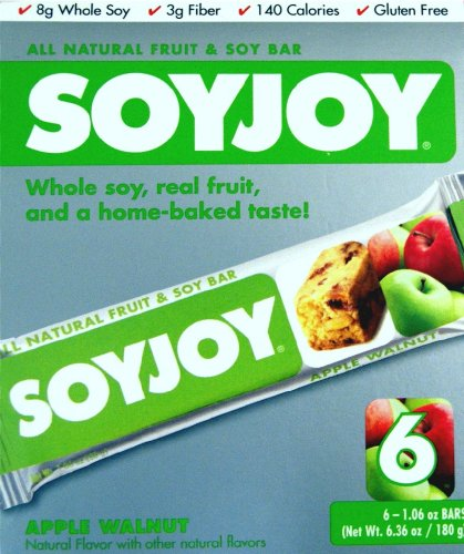 SOYJOY ALL NATURAL FRUIT & SOY BAR APPLE WALNUT 6 PACK (Six 1.06 oz BARS)