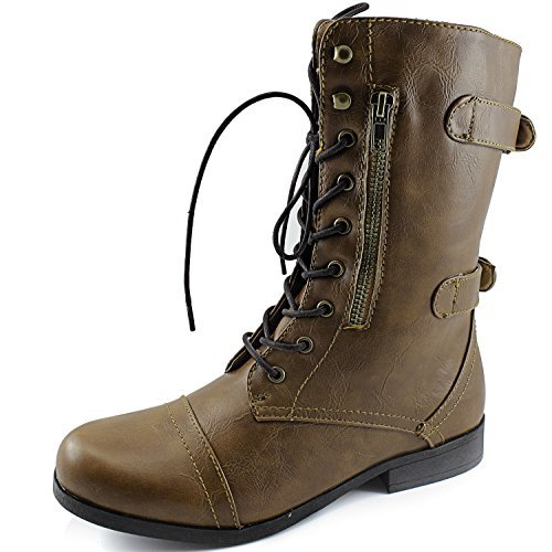 Women's Dailyshoes Evan-10 Ankle Zipper Strap Military Comba