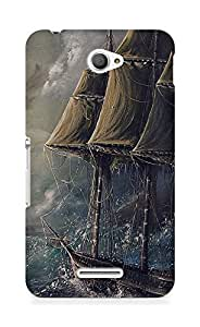 Amez designer printed 3d premium high quality back case cover for Sony Xperia E4 (Painting Sea Wave Boat Illust Art)