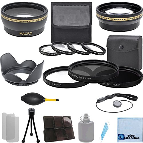Pro Series 52Mm 0.43X Wide Angle Lens + 2.2X Telephoto Lens + 3Pc Filter Sets + 4Pc Close Up Lens + Lens Hood With Deluxe Lens Accessories Kit For Canon Ef 40Mm F/2.8 Stm Lens, Ef 50Mm F/1.8 Ii Lens, Ef 50Mm F/2.5 Compact Macro Lens, Ef-S 60Mm F/2.8 Macro
