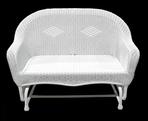 "51"" White Resin Wicker Double Glider Patio Chair front-336426"