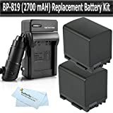 2 Pack Battery Kit For Canon VIXIA HF M40 M41 HF S200 H S20 HF S21 S30 S40 HF200 HG20 HG21 Dual Flash Memory Camcorder Includes 2 Replacement Extended BP-819 (2100mAH) Battery + Ac/Dc Charger + More