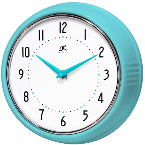 Genial Infinity Instruments Turquoise Retro 9 1/2 Inch Metal Wall Clock
