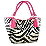 Black Large Vicky Zebra Print Faux Leather Satchel Bag Handbag Purse Pink