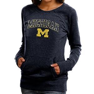 NCAA Michigan Wolverines Womens Scoop Neck Fleece Sweatshirt - Navy Blue (Medium)