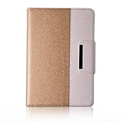Samsung Galaxy Tab A 9.7 Case Rotating Case with a Bonus Screen Protector By Thankscase,Cover Only for Tab A 9.7 2015 Release SM-P550/SM-T550 with Wallet and Pocket with Hand Strap with Smart Cover Function for Tab A 9.7 2015.(Gold)