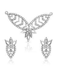 Mahi CZ Collection White Rhodium Plated CZ Mangalsutra Set For Women-NL1101871R
