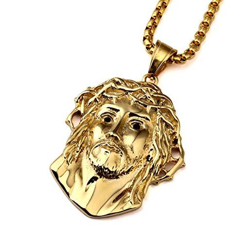 nyuk da uomo in acciaio al titanio oro collane catena collana ciondolo Catene Ciondolo Gesù