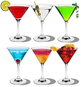 Rink Drink Martini Cocktail Crystal Glasses - 200ml (7oz) - Gift Box of 6