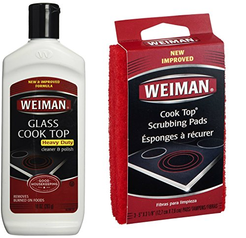Weiman Cook Top Scrubbing Pads with Glass Cook Top Cleaner & Polish Bundle (Weiman Glass Cooktop Pads compare prices)