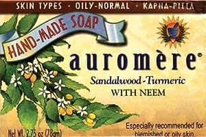 Sandal Turmeric Soap Auromere Ayurvedic Products 2.75 oz. Bar Soap