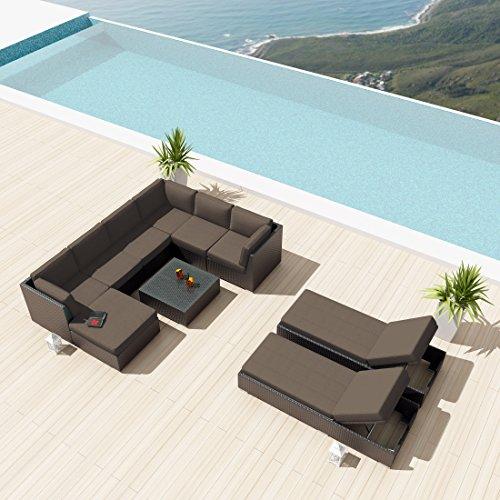 NEW-Uduka-Monet-10-Pcs-Outdoor-Dark-Grey-Sectional-Patio-Furniture-Espresso-Brown-Wicker-Sofa-Set-All-Weather