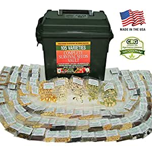 Survival Seed Vault - Best for Fruit Herb and Vegetable Storage Bank - 105 Variety Non GMO Non Hybrid Heirloom Seeds in 30 Cal. Ammo Box - High Germination Success Emergency Gardens Doomsday Supplies