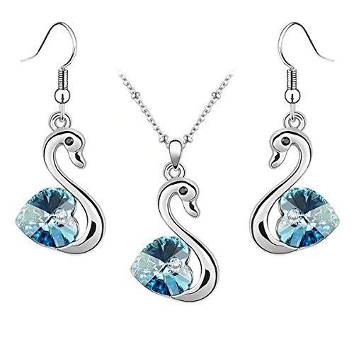 Le Premium® -cigno gioielli Set Collana+penzolare l'orecchino cuore a forma di Swarovski acquamarina Blu cristallo