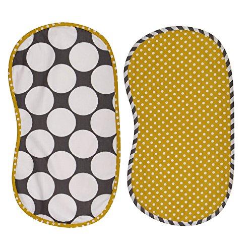 Bacati 2 Piece Dots/Pin Stripes Dots Burpies Set, Grey/Yellow - 1