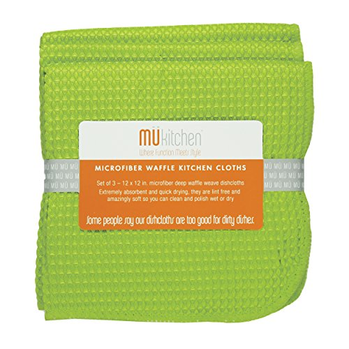 MU Set of 3 Waffle Dish Cloths, Grass
